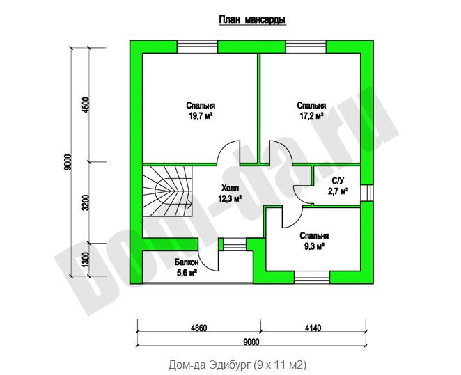 Загородный дом из пеноблоков, проект