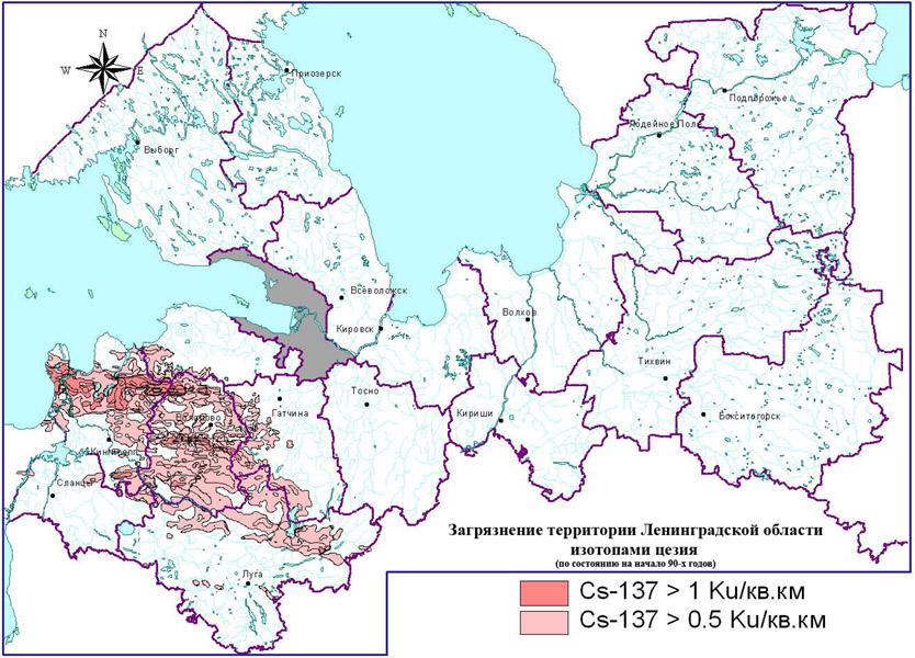 Карта Ленинградской области: